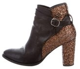 Markus Lupfer Glitter-Paneled Leather Ankle Boots