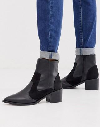 London Rebel kitten heel western boots in black