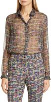 Etro Tweed Print Silk Tunic Blouse