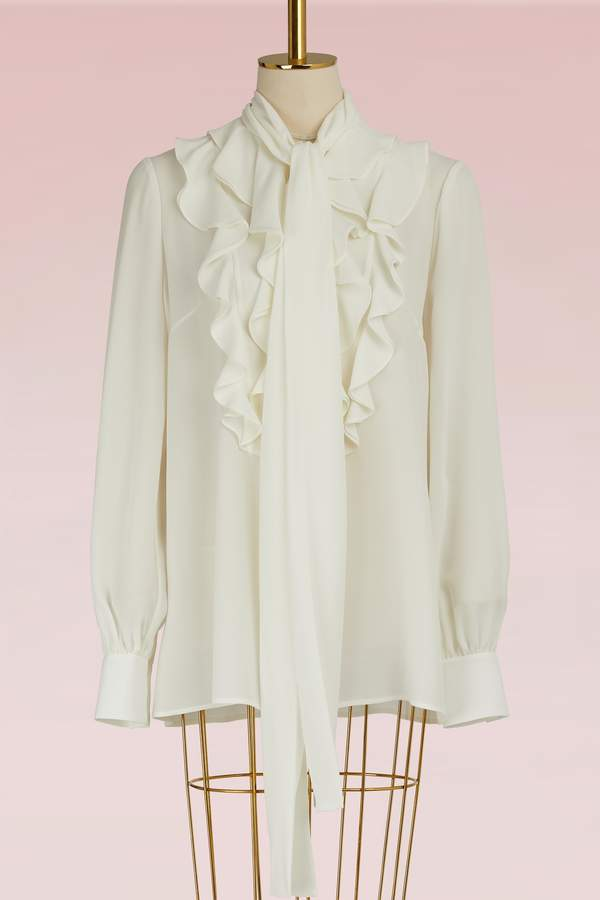 Alexander McQueen Silk Gathered Neck Blouse