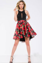 Jovani Halter Cocktail Dress with Floral Skirt JVN41523