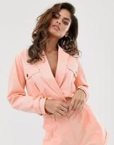 Asos Design DESIGN washed pink linen cropped suit blazer