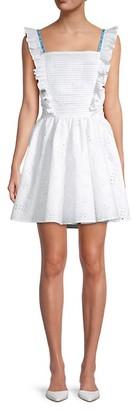 Off-White Ruffled Eyelet Fit-&-Flare Dress