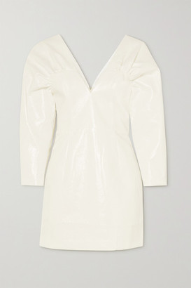 Rotate by Birger Christensen Clara Faux Patent-leather Mini Dress - White