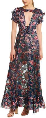 For Love & Lemons Floral Silk-Blend Maxi Dress