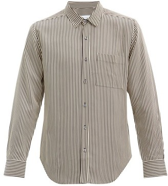 Equipment Patch Pocket Striped Twill Shirt - Black White