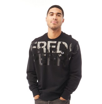 Fred Perry Mens FP Large Logo Print Sweatshirt Black
