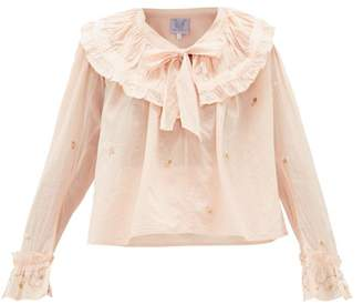 Thierry Colson Dauphine Floral-embroidered Tie-neck Cotton Blouse - Womens - Light Pink