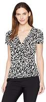 Kasper Women's Short Sleeve Scattered Dots Ruched Faux Wrap Ity Top