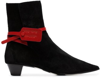 Off-White black Zip Tie 35 suede ankle boots