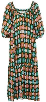 La DoubleJ Paloma Geo Print Off-The-Shoulder Maxi Dress