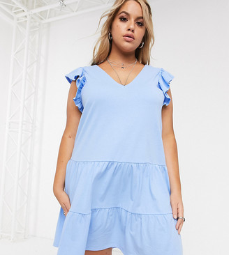 ASOS DESIGN Curve v neck frill sleeve tiered smock dress in chambray
