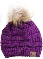 Gravity Threads CC Cable Knit Faux Fur Pom Pom Beanie Hat