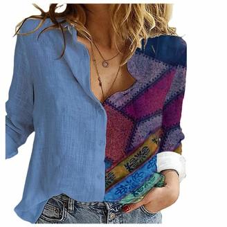 Laiyifa T Shirts for Women Loose Tops Long Sleeve Ladies Blouse Shirt Buttons Spring Summer Cool Sweatshirts Hoodies Fashion Tunic Jumper