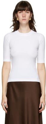 Rosetta Getty White Cropped Sleeve T-Shirt