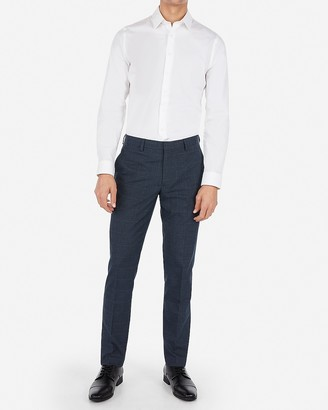 Express Extra Slim Plaid Navy Wrinkle-Resistant Stretch Suit Pant