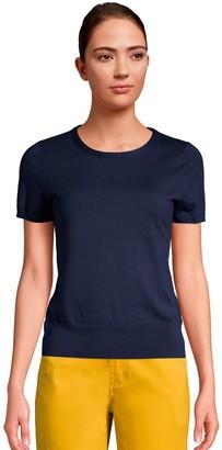 Lands' End Women's Supima Cotton Short-Sleeve Sweater