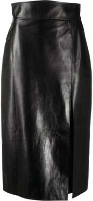 Gucci Leather High-Waisted Pencil Skirt