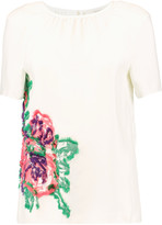 Pringle Fringed embroidered crepe top