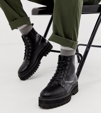 Asos DESIGN Wide Fit black lace up boots in faux leather with raised chunky sole