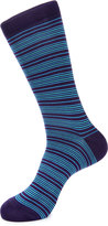 Jared Lang Stripe-Print Cotton-Blend Socks, Purple/Blue