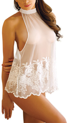Fantasy Lingerie Women's Camisoles PORCELAIN - Porcelain White Sheer Embroidered Halter Top & Bikini - Women & Plus