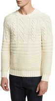 Belstaff Mix-Stitch Cotton Crewneck Sweater, Ivory