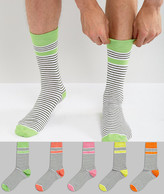 Asos Socks In Multicoloured Stripes With Contrast Heel And Toe 5 Pack