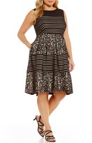 Sangria Plus Lace Fit-and-Flare Dress