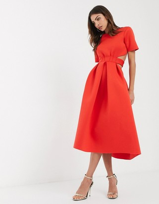 ASOS DESIGN t-shirt belted cut out midi skater dress in red