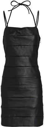 STAUD Buzz Vegan Leather Mini Dress