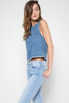 7 For All Mankind Seamed Denim Shell In Coastal Blue