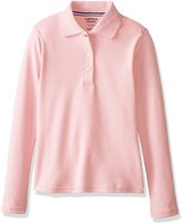 French Toast Big Girls Long Sleeve Picot Collar Interlock Polo