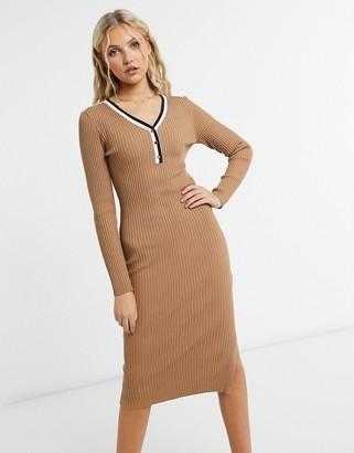 Morgan knitted rib midi dress in tan
