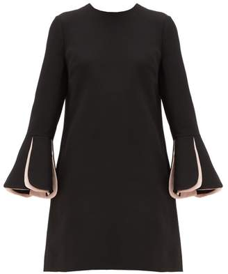 Valentino Fluted-sleeve Wool-blend Crepe Mini Dress - Womens - Black Multi