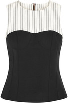 Tibi Cecil Striped Linen-blend And Stretch-crepe Top - Black