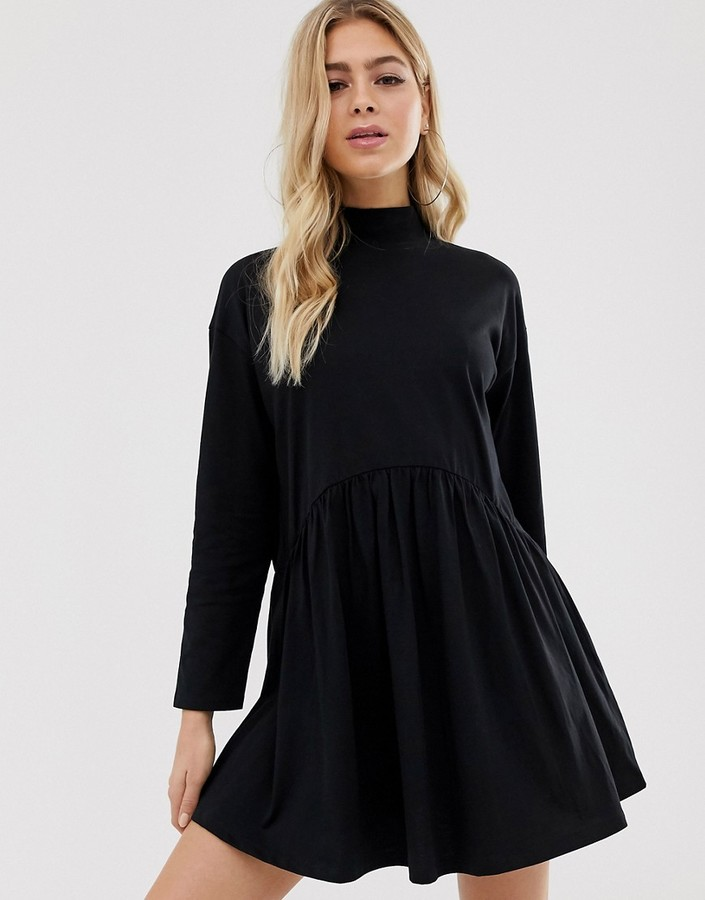 Asos Design DESIGN high neck curve seam smock dress in black