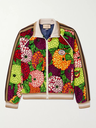 Gucci Striped Webbing-Trimmed Printed Cotton-Velour Track Jacket - Men - Multi