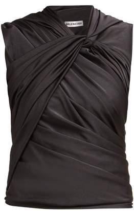 Balenciaga Gathered Jersey Top - Womens - Black