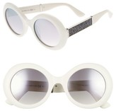 Jimmy Choo Women's Wendy 51Mm Round Sunglasses - White/ Glitter/ White
