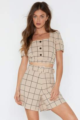 Nasty Gal Womens Check Print Button Front Crop - beige - M