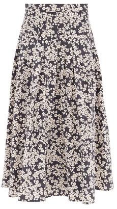 Merlette New York Harper Floral-print Cotton-poplin Midi Skirt - Black Print