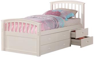 Donco Kids Kids Brimly 6-Drawer Storage Bed, White, Twin