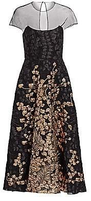 Lela Rose Women's Illusion Top Metallic Fil Coupe A-Line Dress