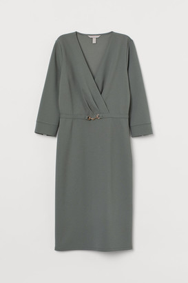 H&M Fitted Jersey Dress - Green