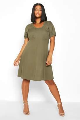 boohoo Plus Ribbed Scoop Neck Puff Sleeve Swing Dress