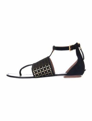 Alaia Suede Lasercut Accents T-Strap Sandals Black