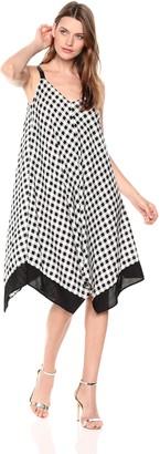 MSK Women's Gingham Challis Dress with V-Neck and Pompom Leg Details Black/White SM