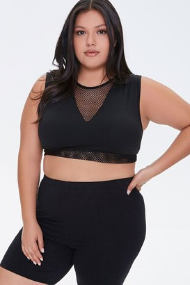 Forever 21 Plus Size Active Mesh-Panel Tank Top