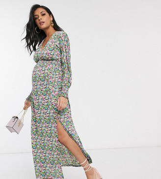 Asos DESIGN Maternity maxi dress with shirred waist in floral print